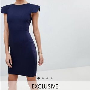 BNWT ASOS Vesper pencil dress scalloped sleeve